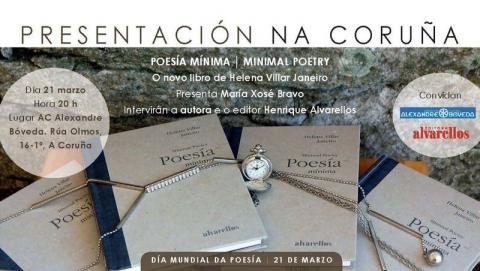 """A escritora HELENA VILLAR JANEIRO presenta oxe, no día mundial da poesía, na Coruña, o novo libro, """"POESÍA MÍNIMA"""""""